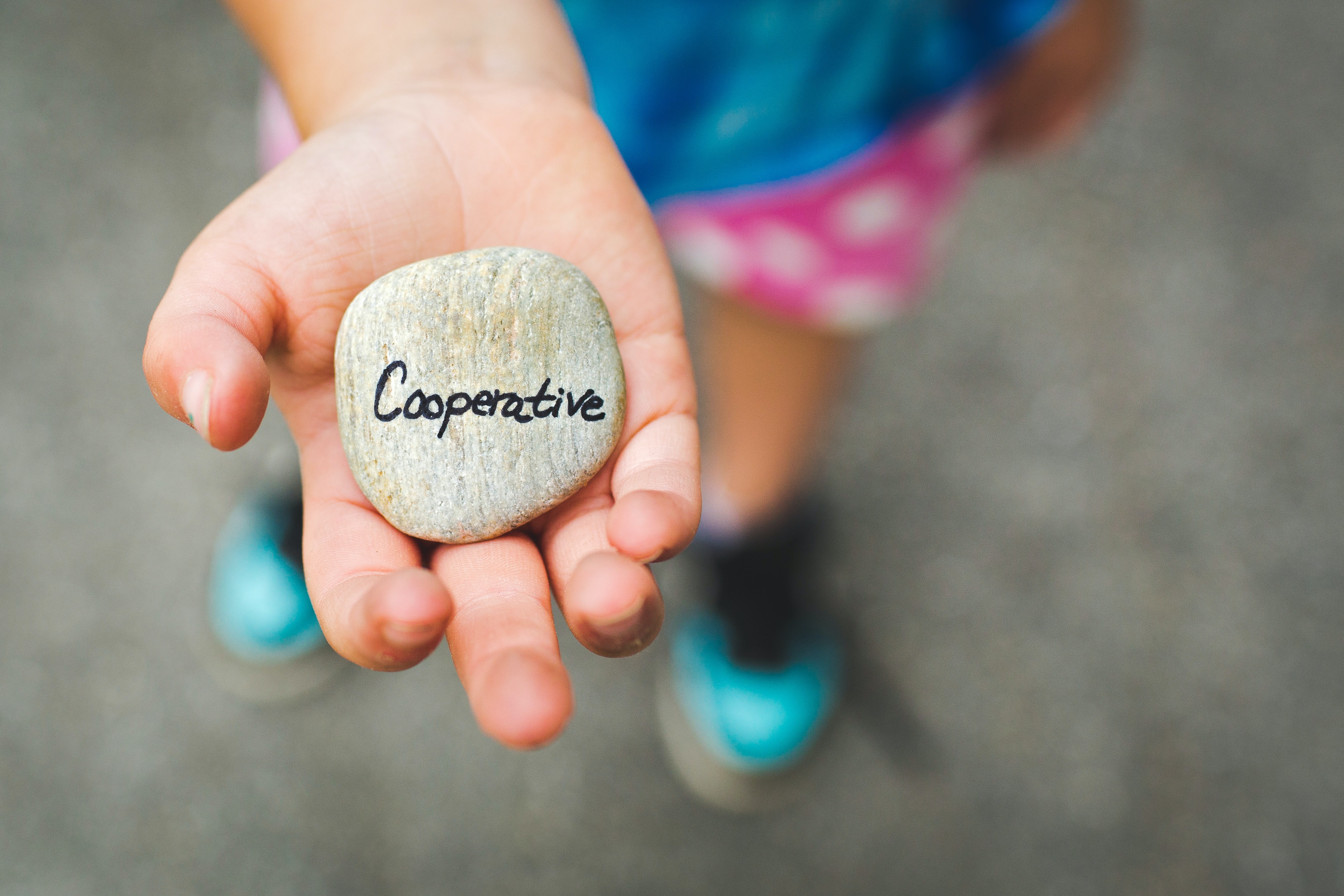 "Female child holding out a gray stone with the words ""cooperative"""