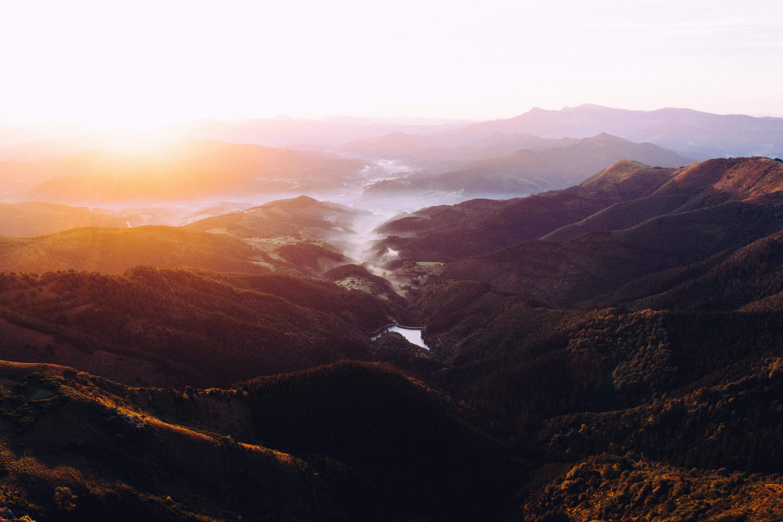 Foggy mountainscape in Ganekogorta at dawn