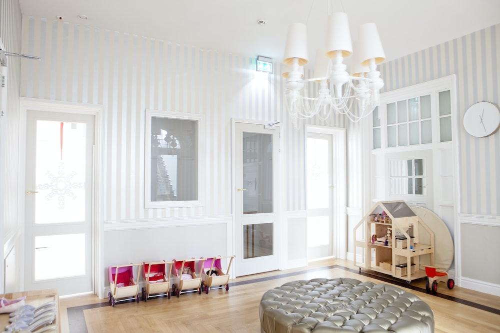 white modern living room set