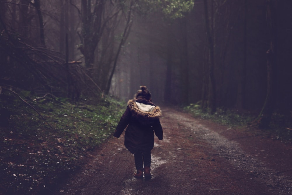 girl in brown parka jacket walking in forest during daytime