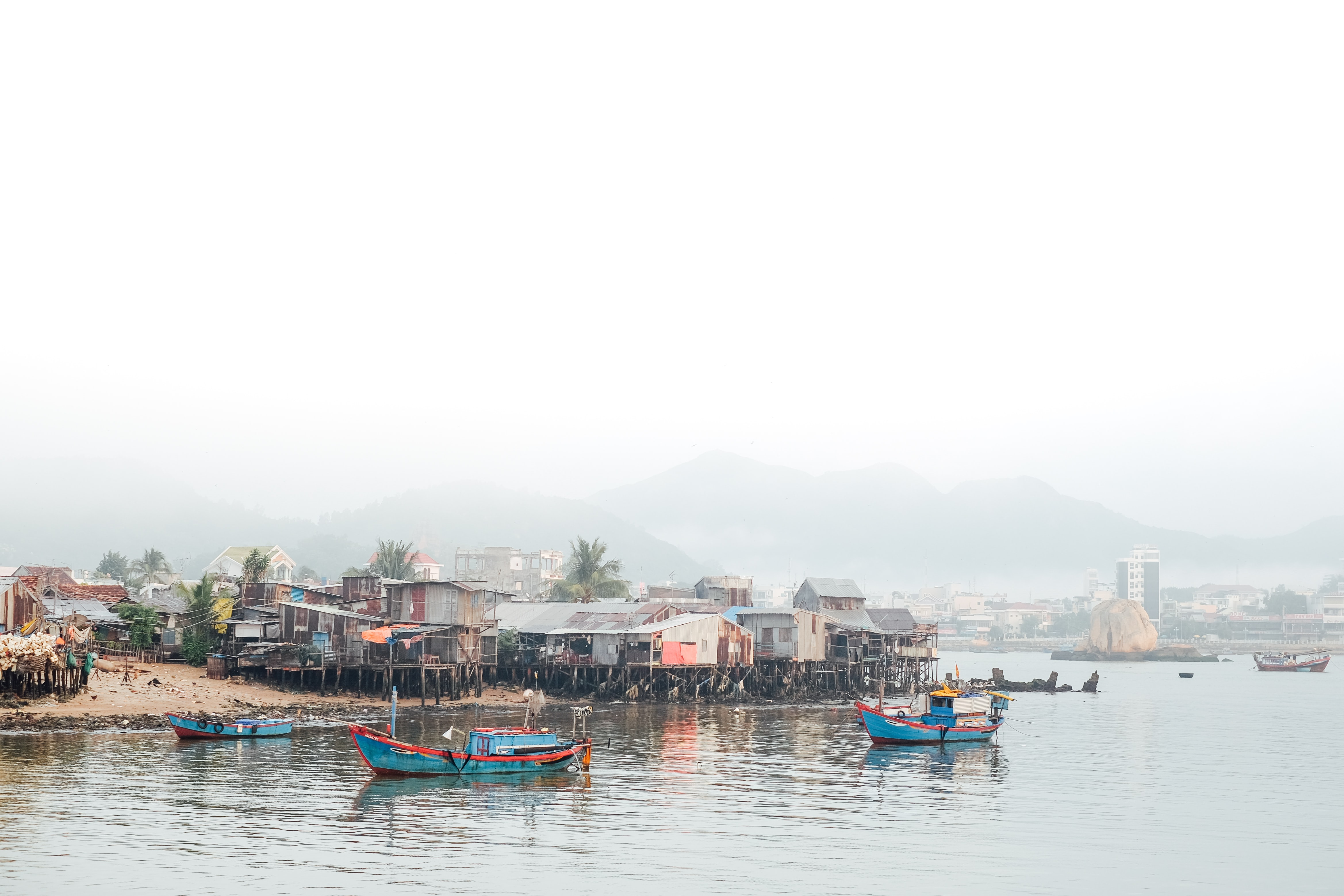 A humble fishing village on a river in Natural Heritage Area Trang