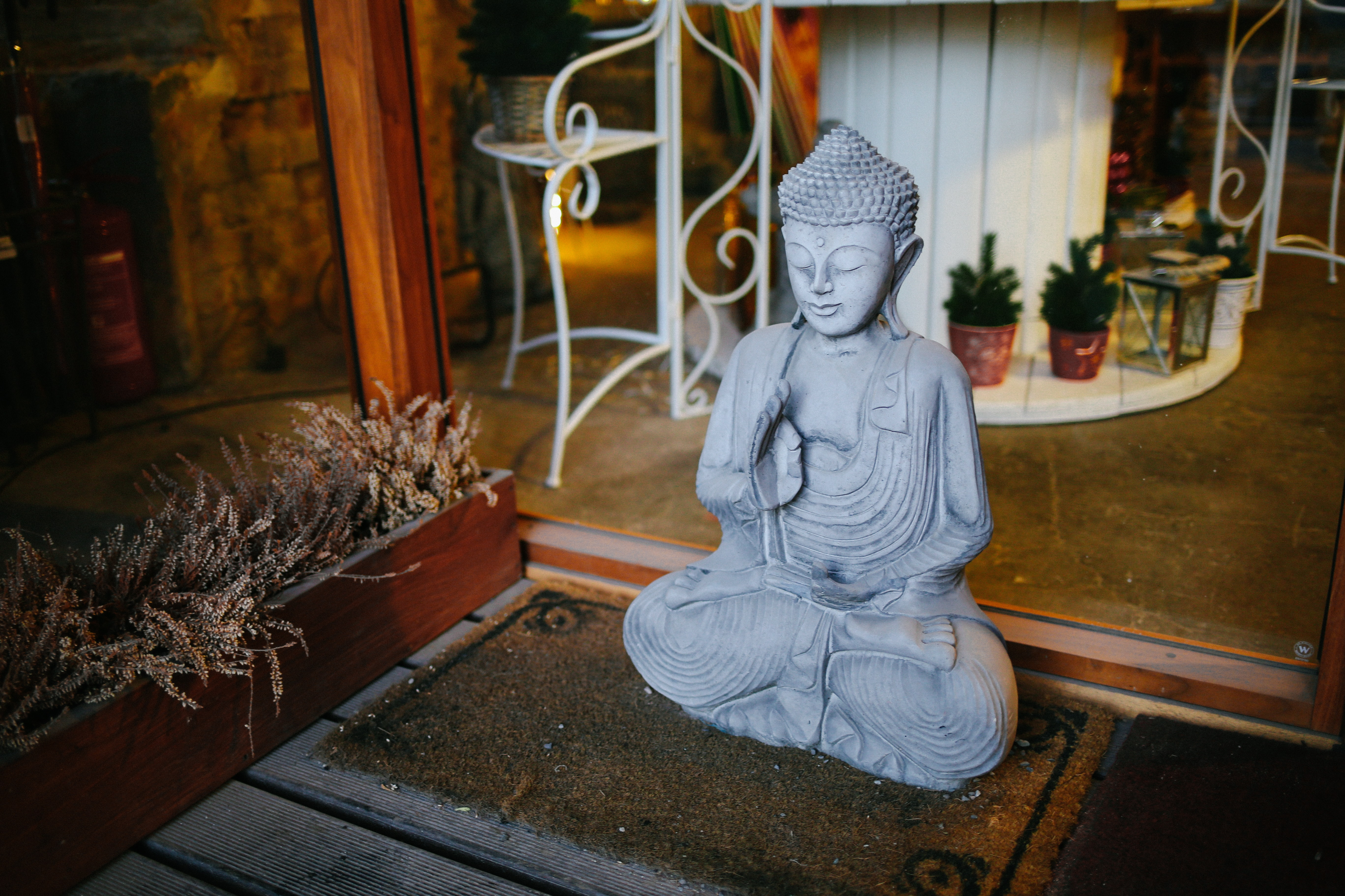 A Buddha statue sitting on a back porch of someone's house in Rotermanni