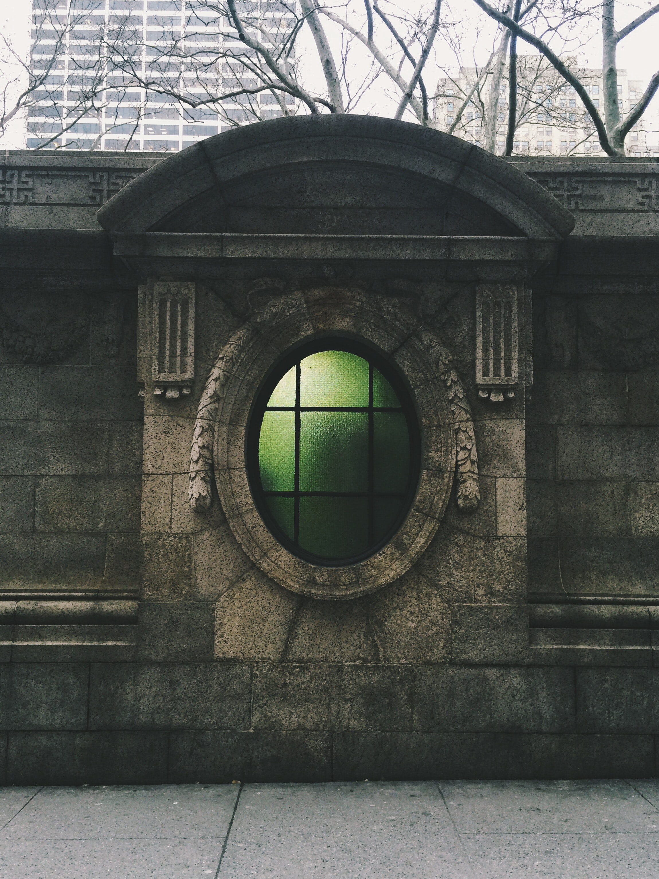green glass window