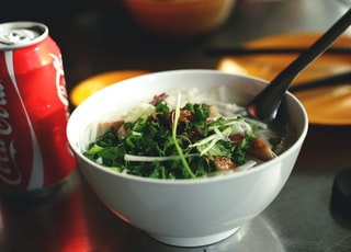 cooked food in bowl beside Coca-Cola can