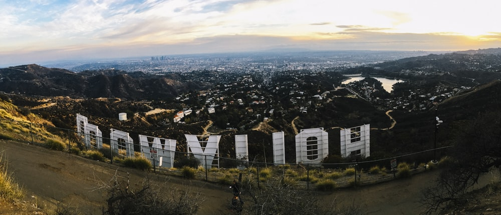 aerial photography of Hollywood California