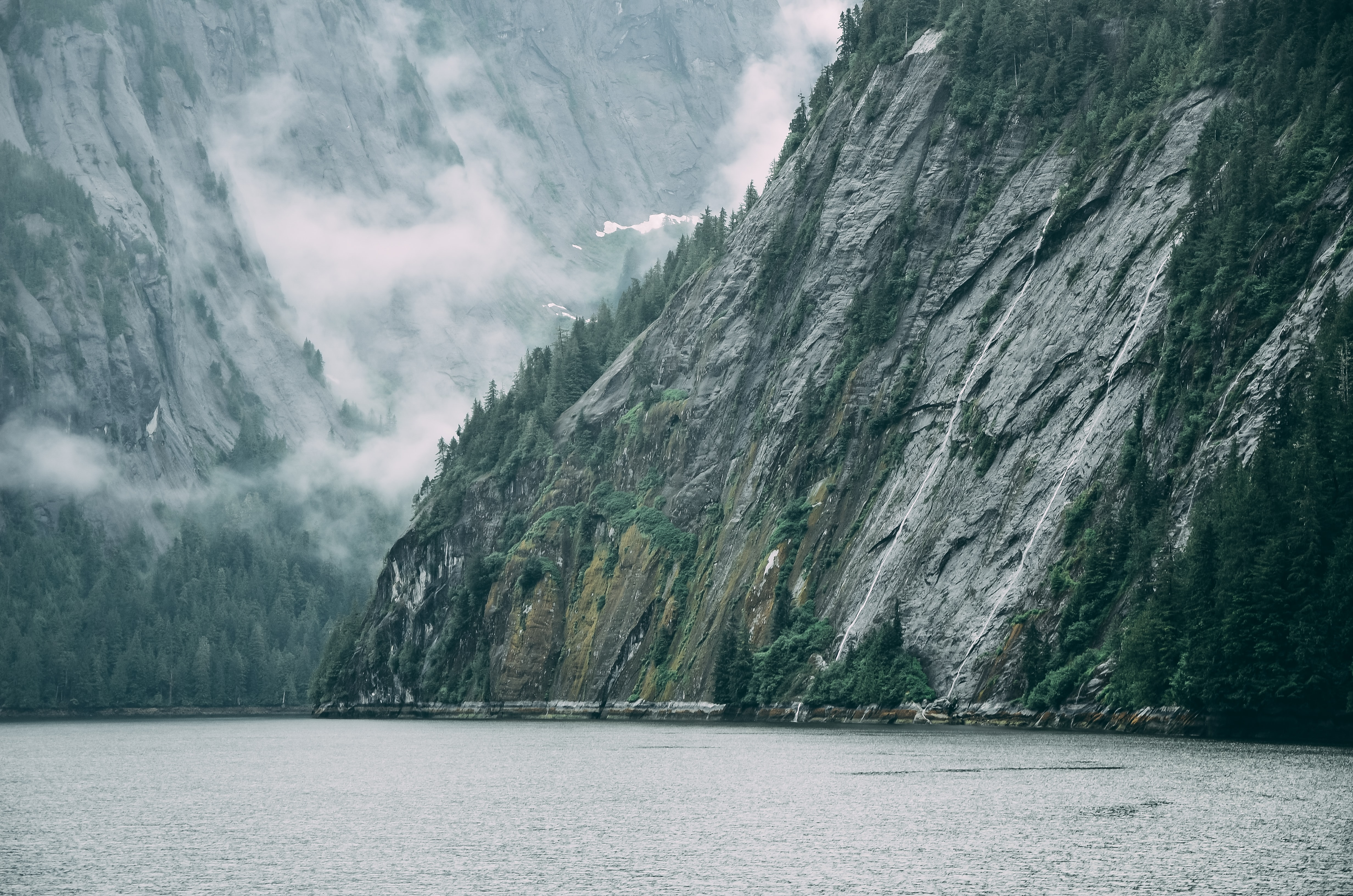 Rocky mountainsides line a serene lake on a foggy day in Alaska