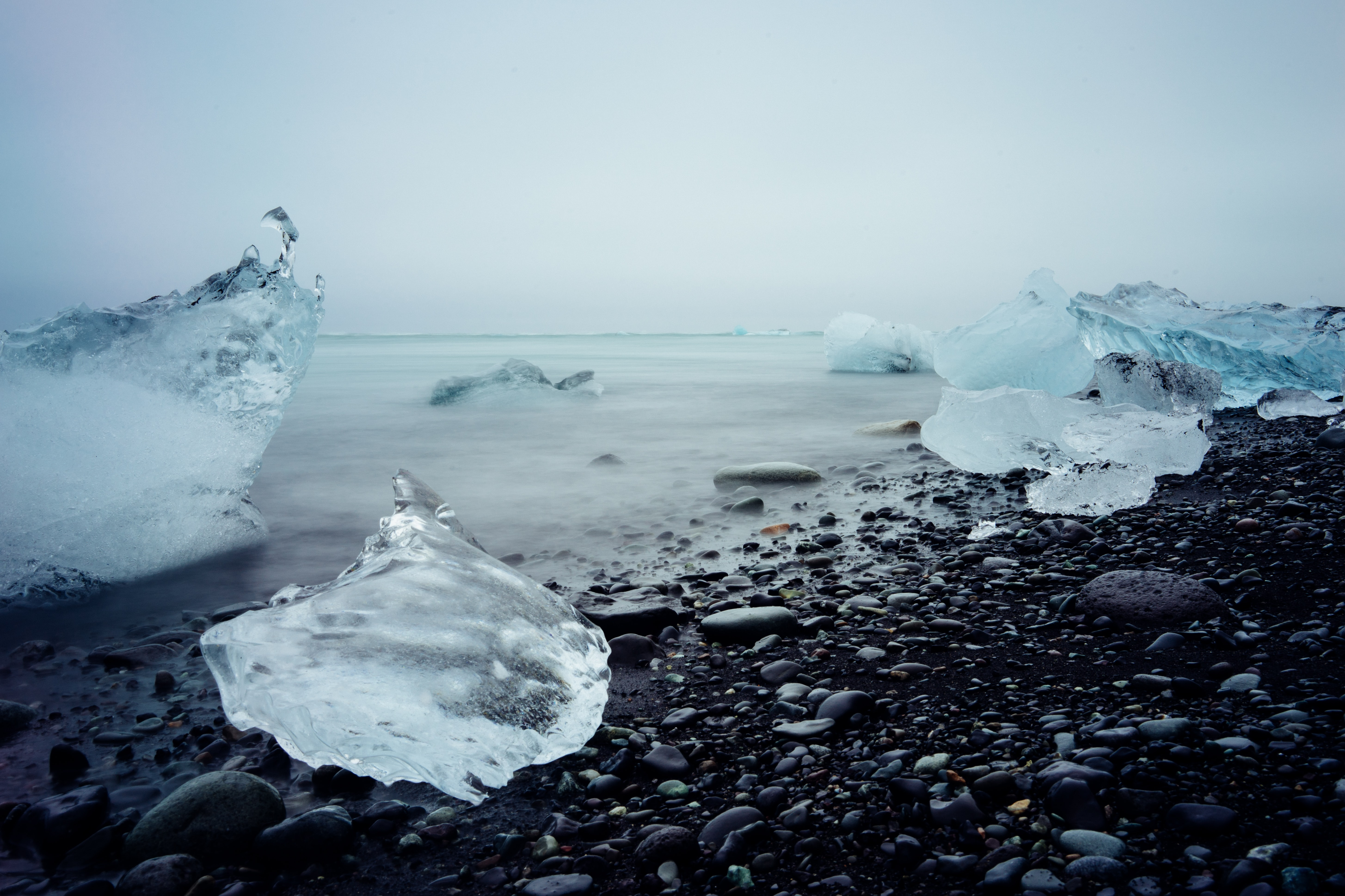 Ice on the black pebble beach at Jökulsárlón Iceberg Lagoon
