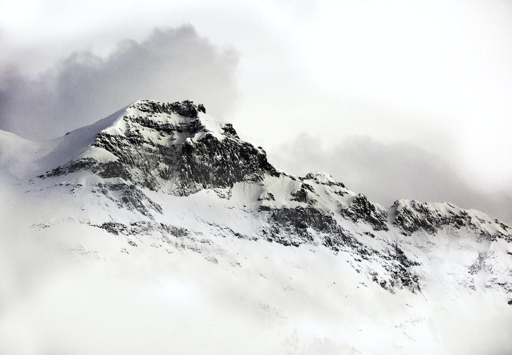 glacier mountain under white sky