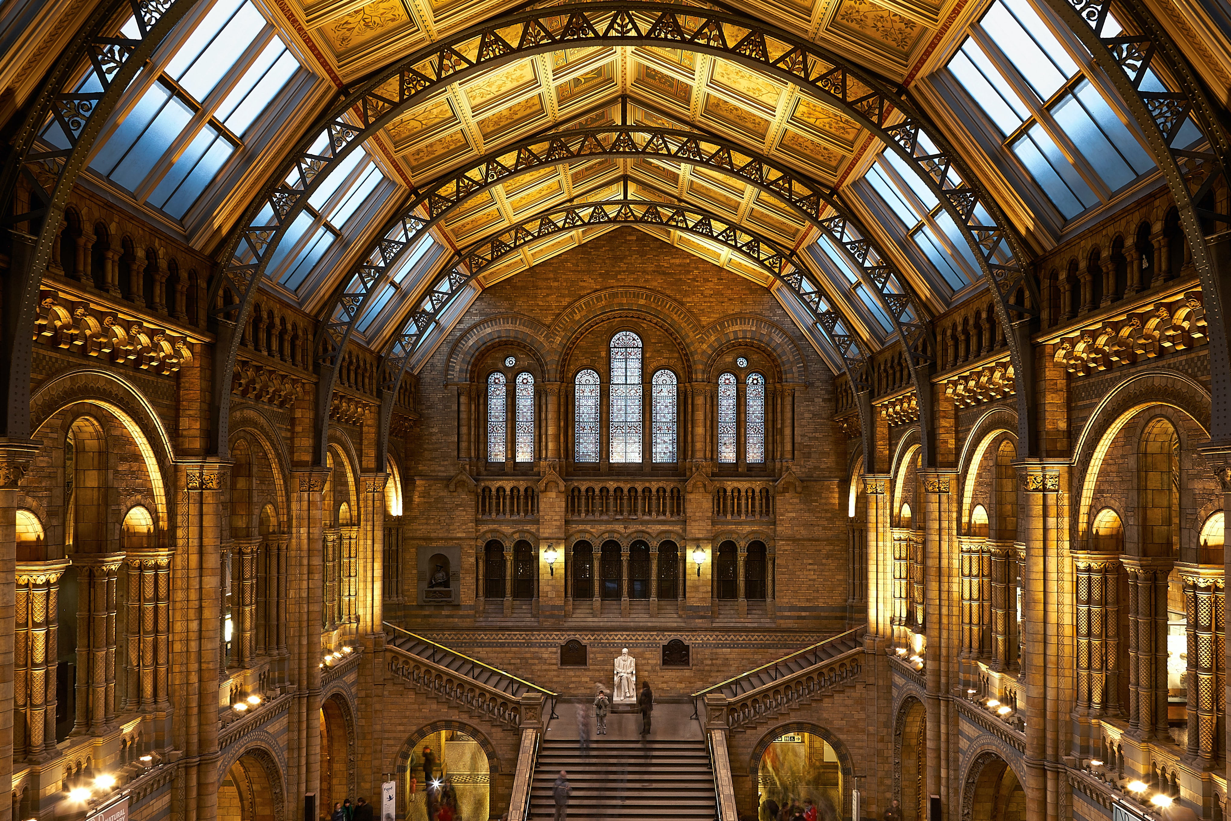 The vaulted hall in the Natural History Museum in London bathed in artificial light