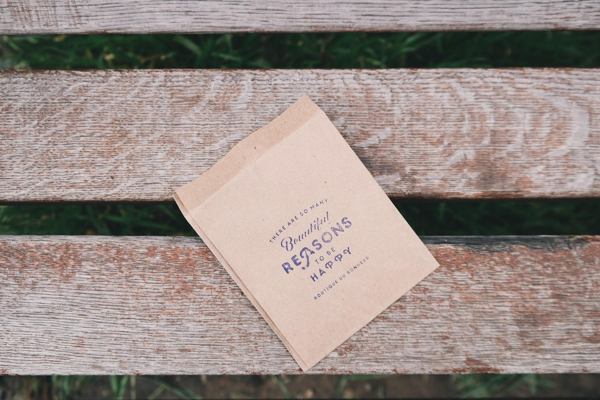 Stationery on a bench
