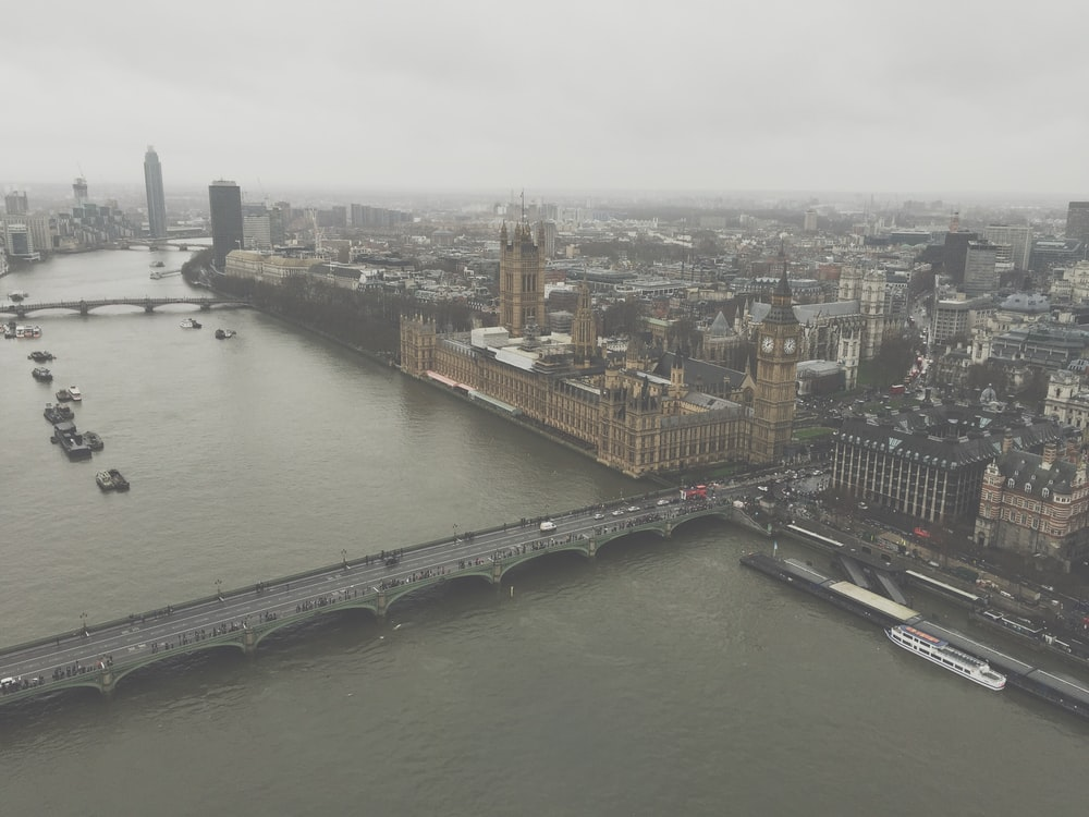 aerial view of London England Big Ben