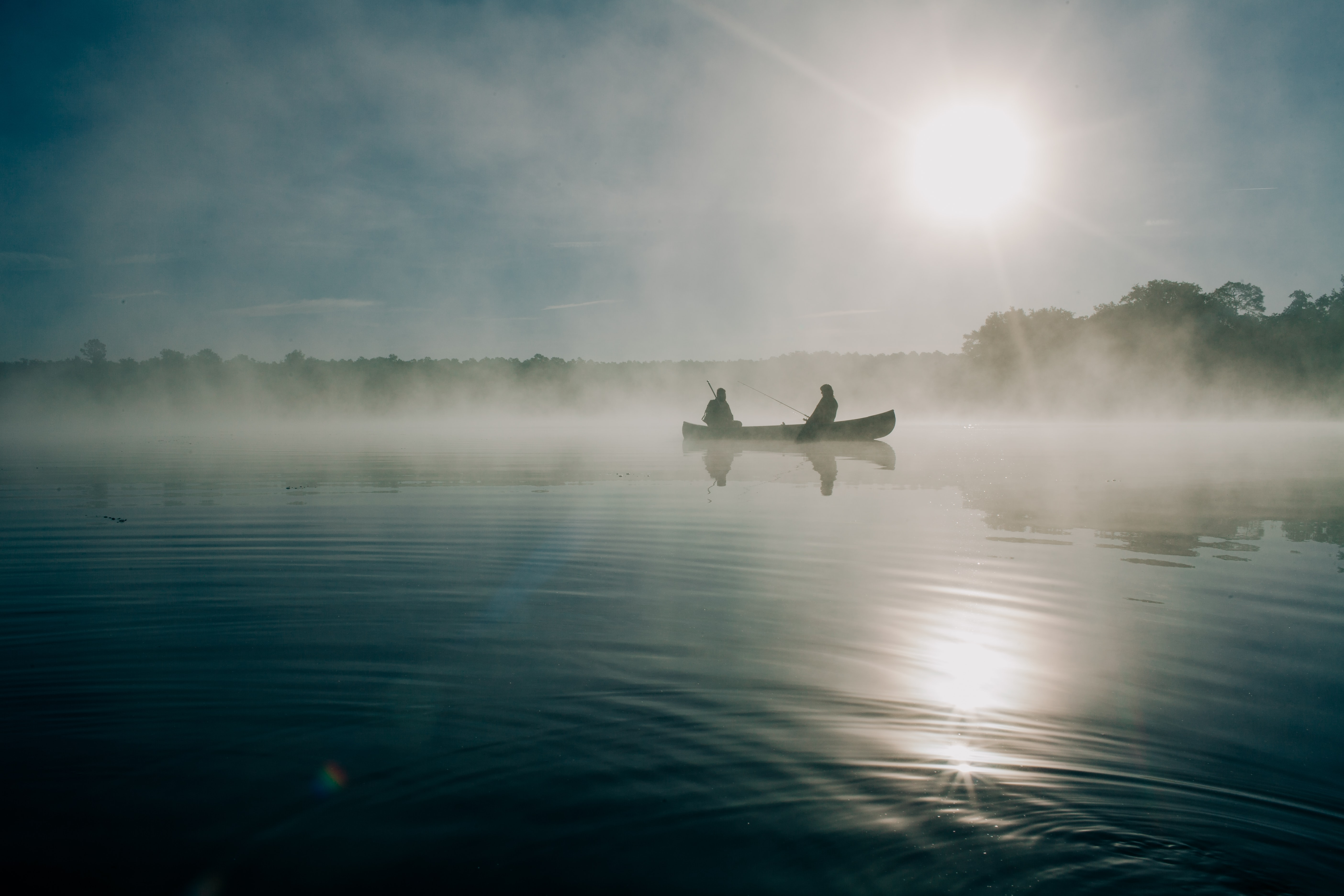 Fishing on a calm lake in Ocala on a sunny morning