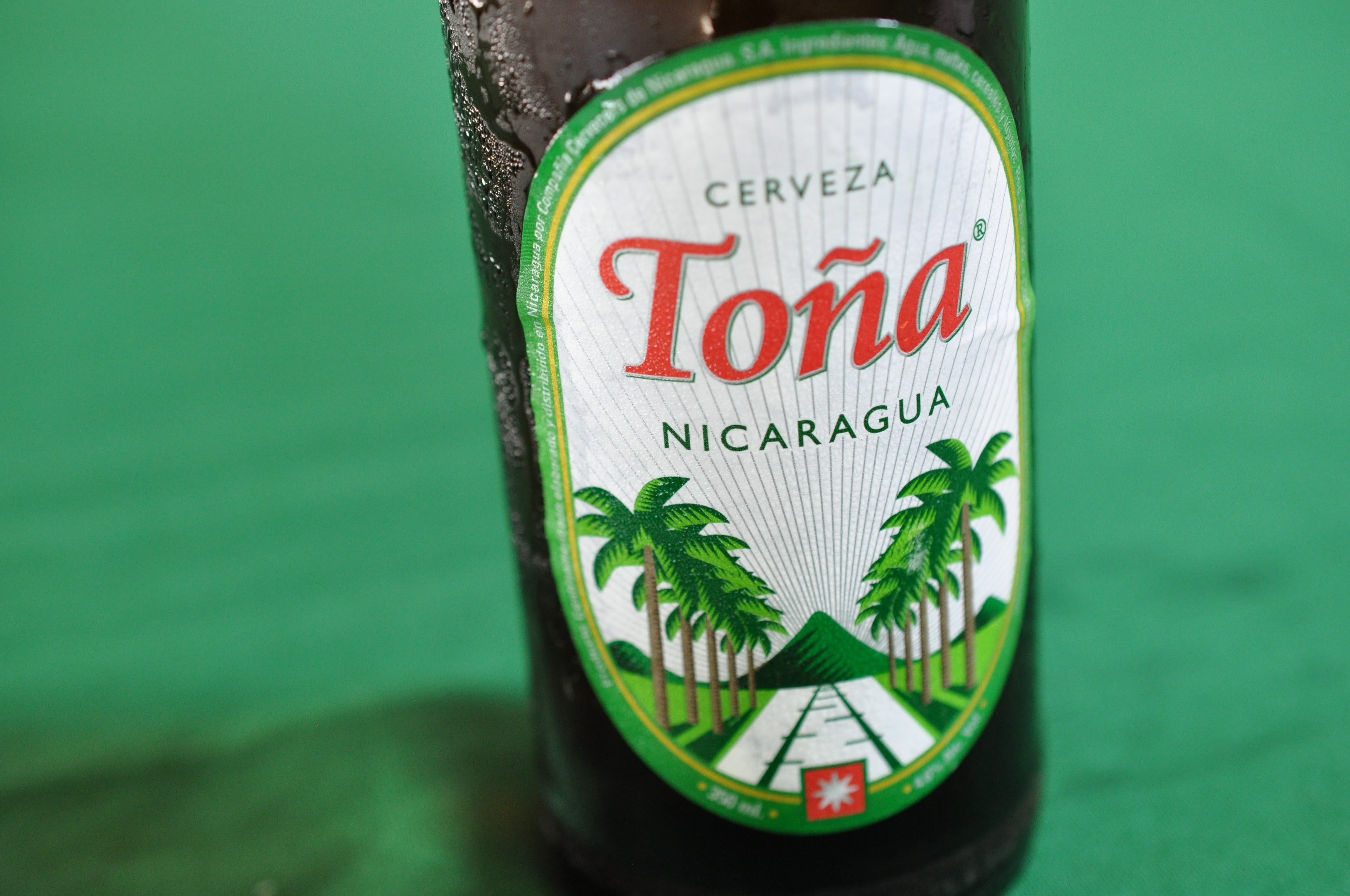 The macro view of a green tone beer drink in Nicaragua