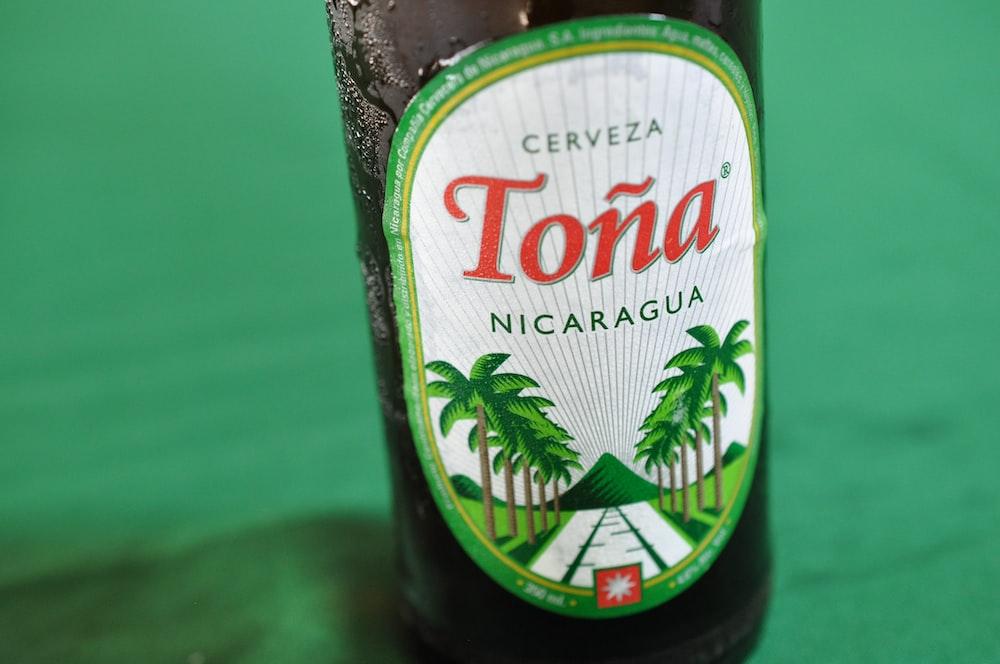 Cerveza Tona nicaragua bottle on green surface