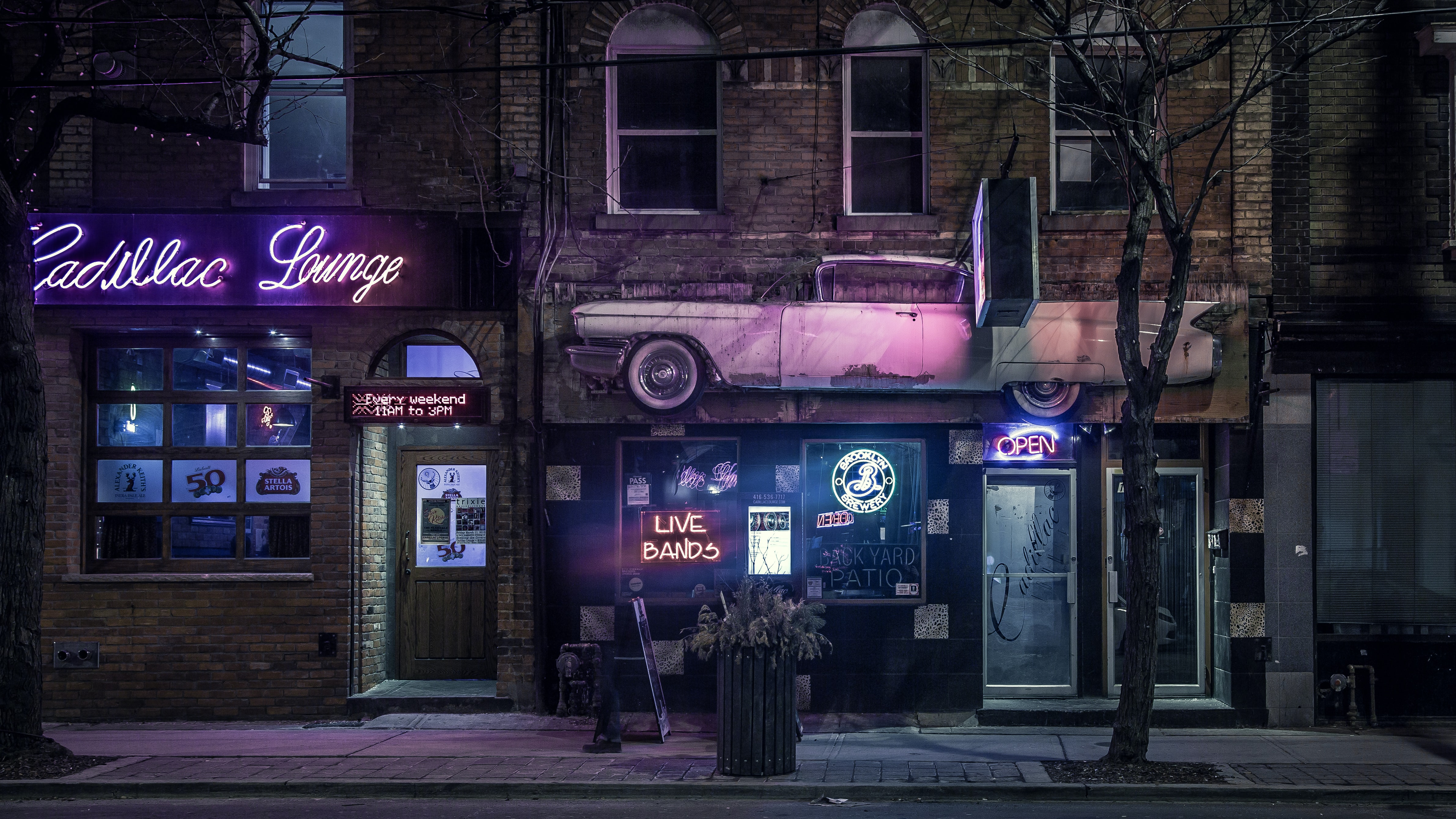 The entrance to Cadillac Lounge illuminated with neons in the evening