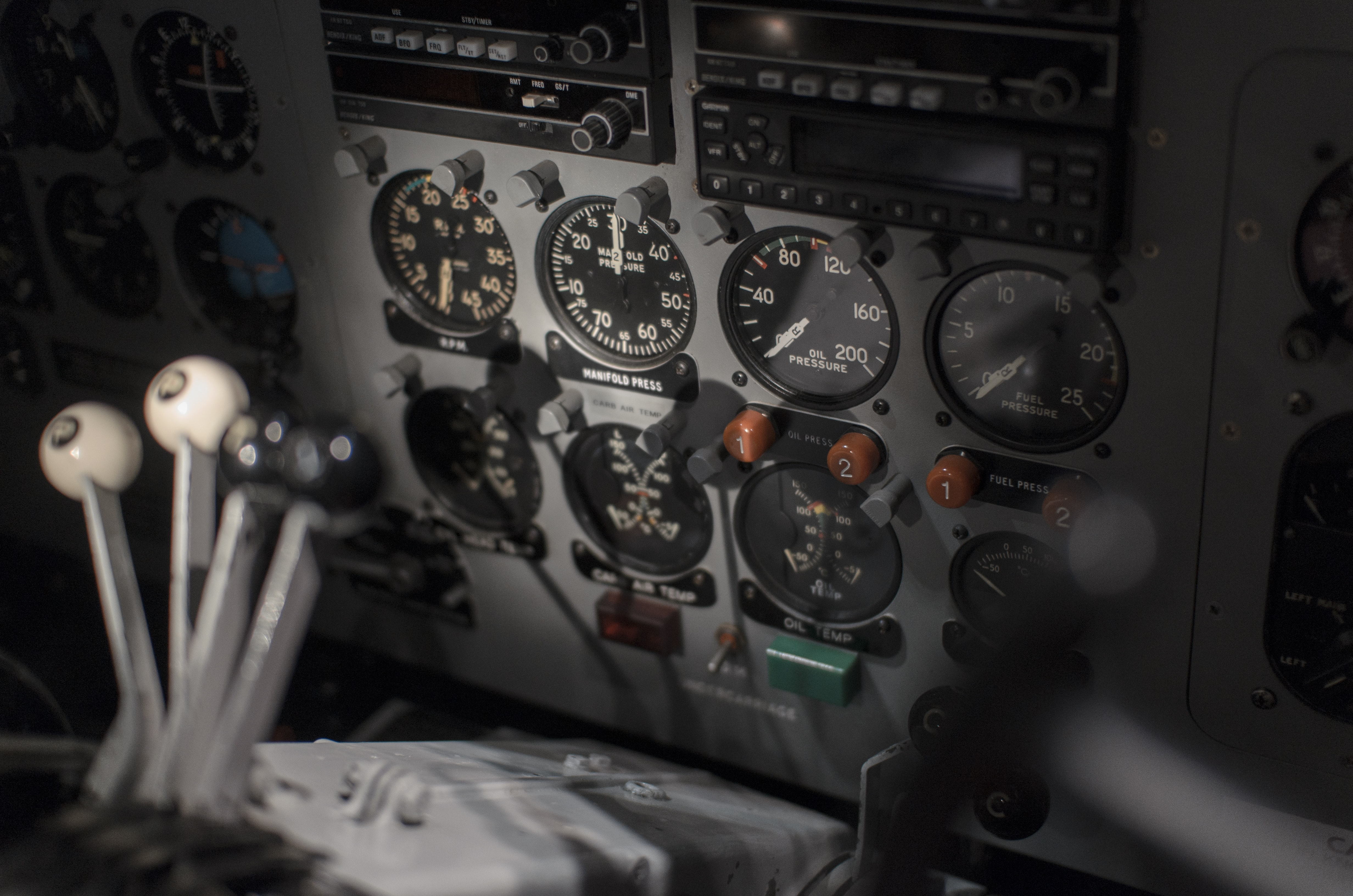 Dashboard in the pilot's cockpit