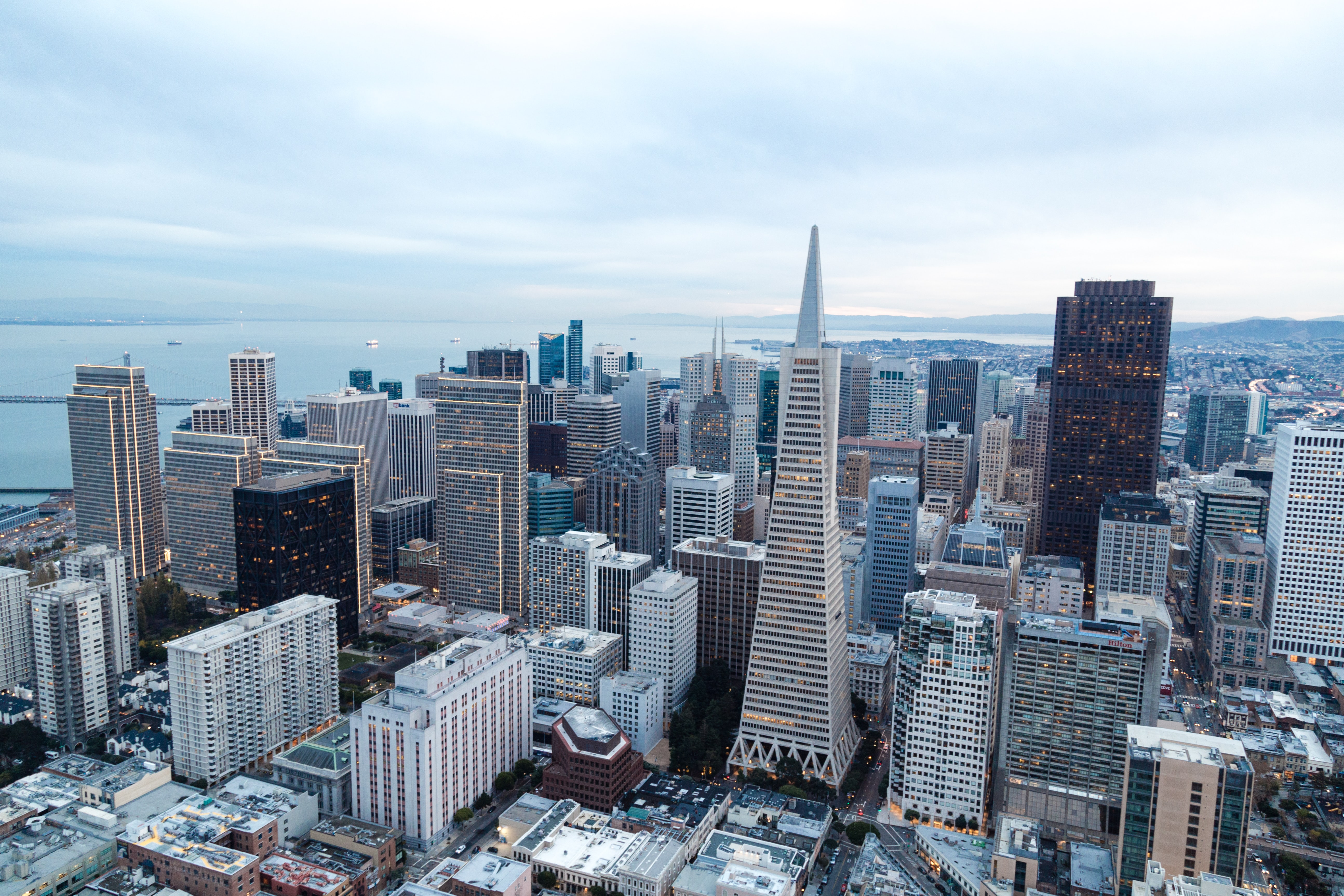 The skyline of San Francisco with the Transamerica Pyramid and other skyscrapers