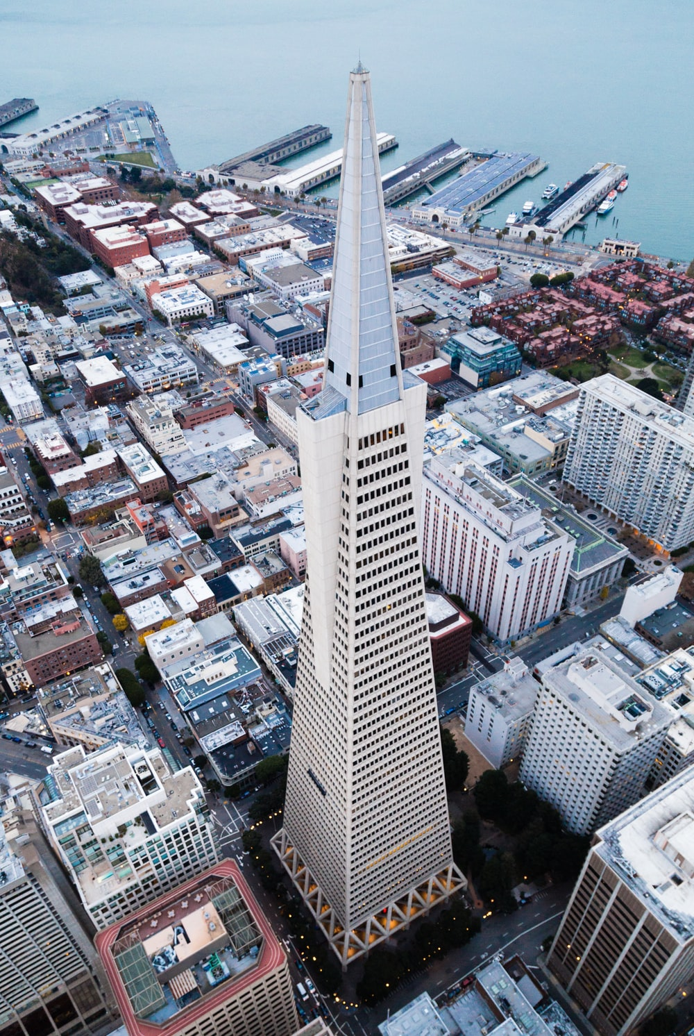 birds eye view of white and gray tower