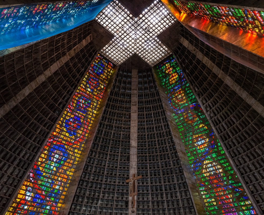 low-angle photography of church ceiling