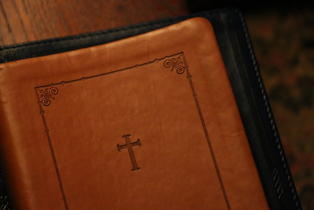 brown leather cover bible book