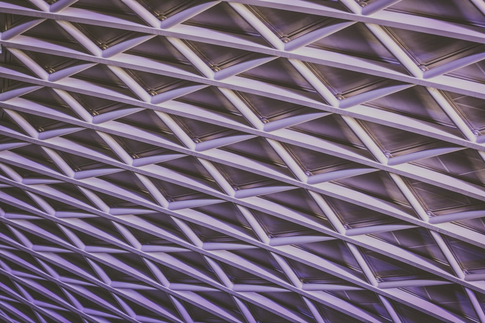 Latticework of support beams in a ceiling