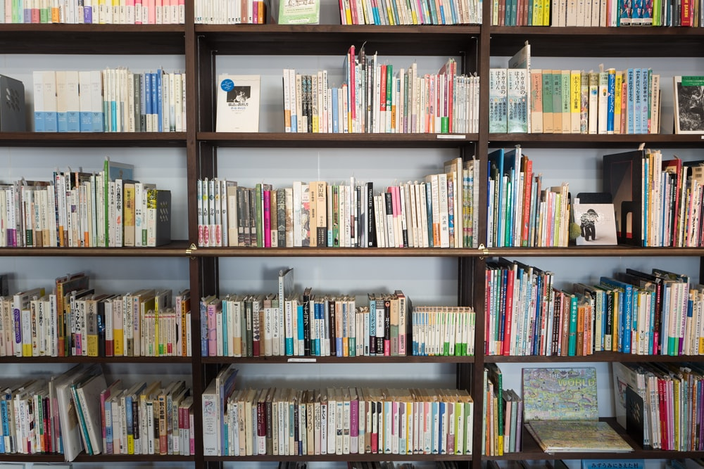 assorted books on brown wooden shelf at daytime