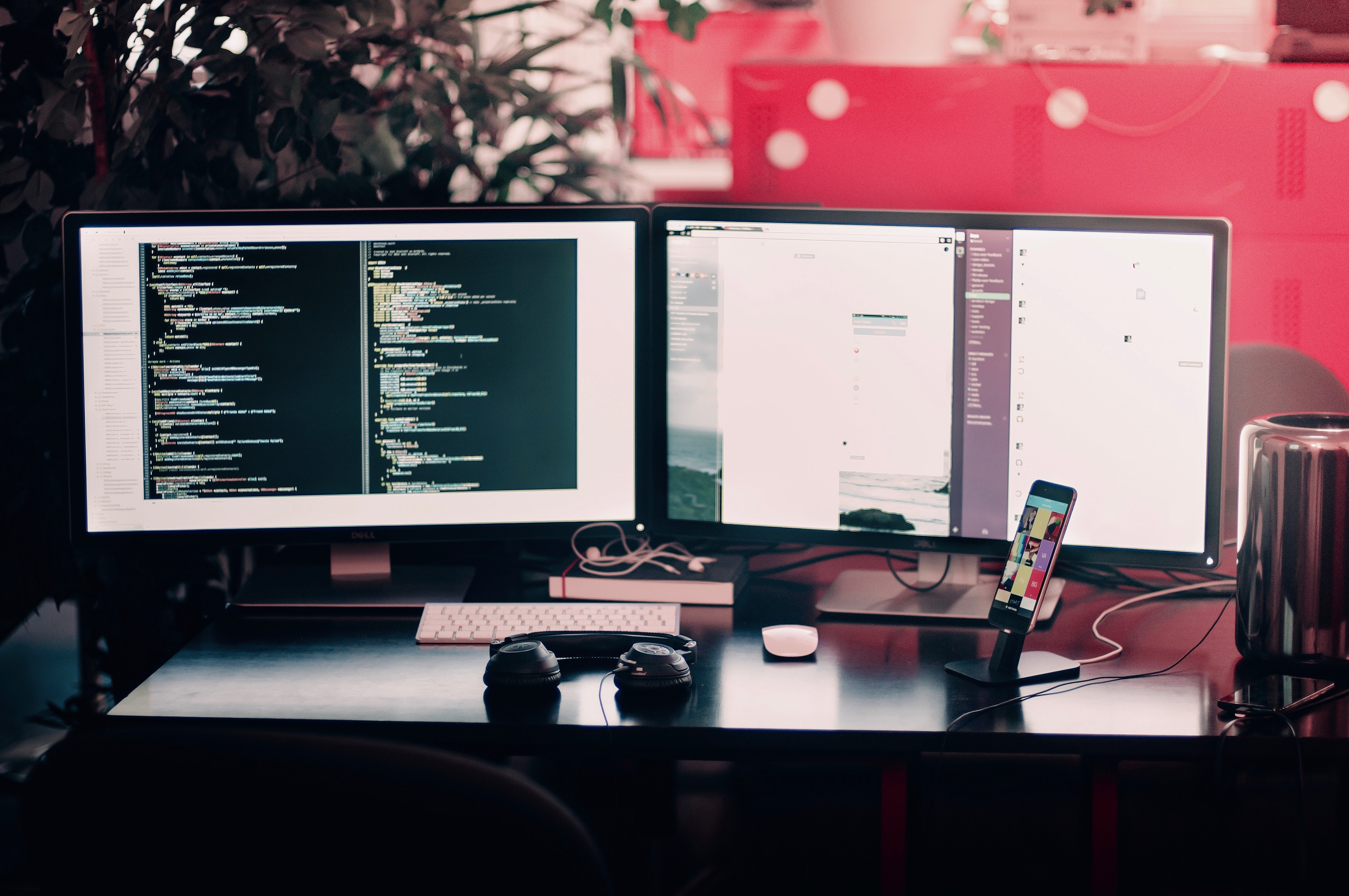 Photos of office Real Two Black Computer Monitors On Black Table The Verge 100 Office Pictures hd Download Free Images On Unsplash