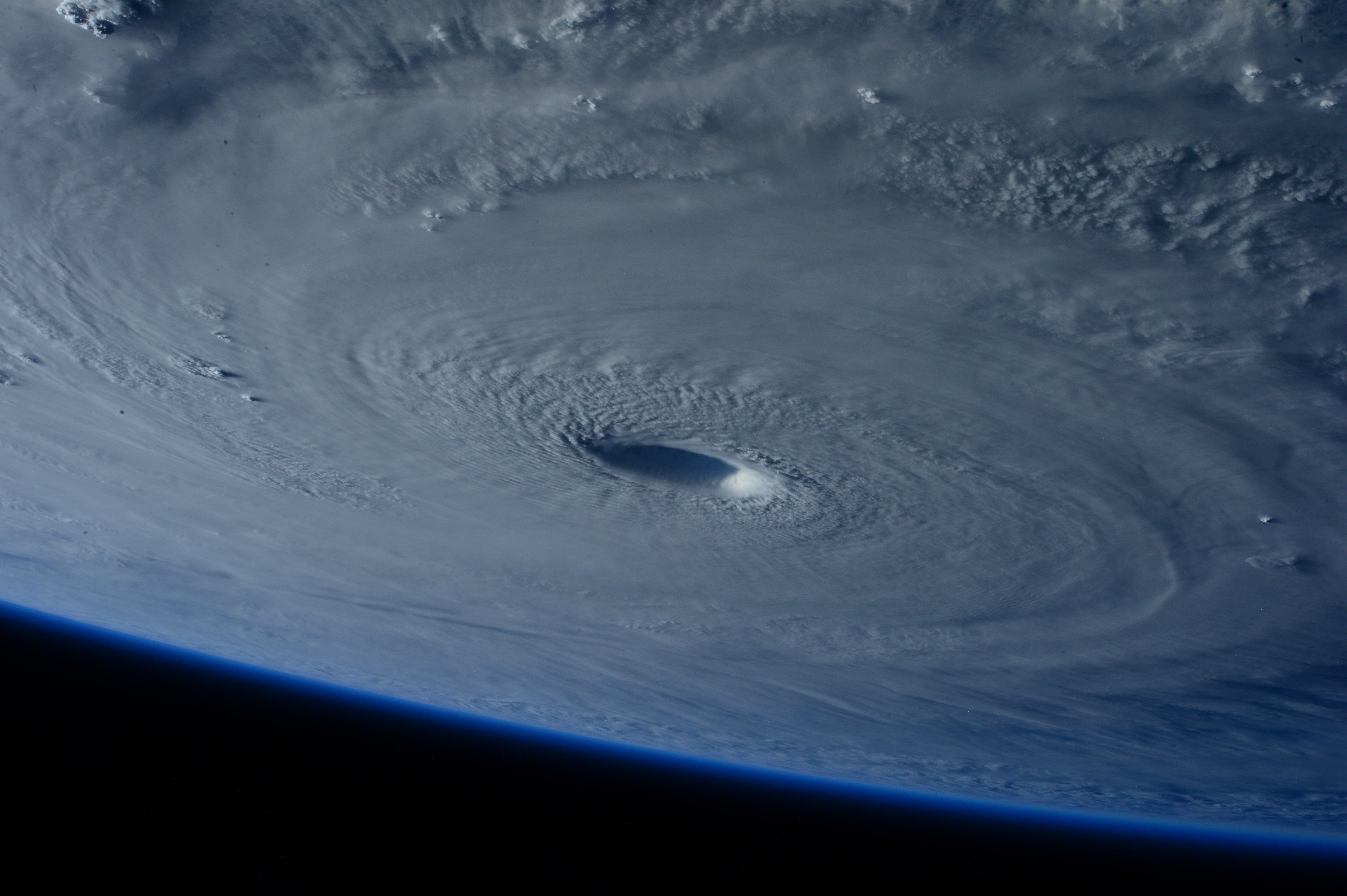 A giant hurricane as viewed from space.