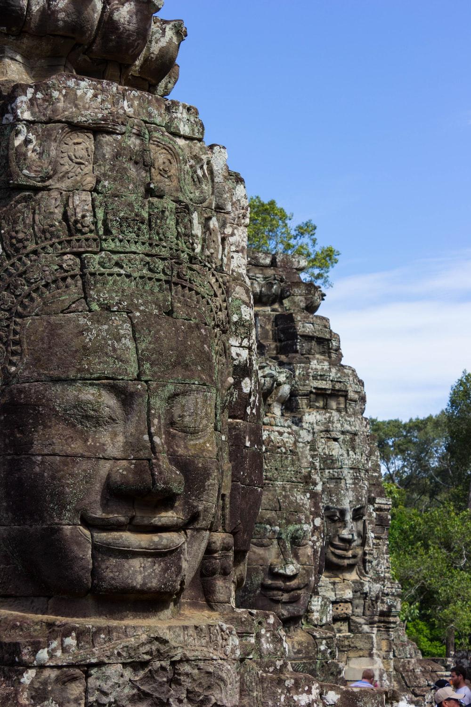 Buddha face on stone
