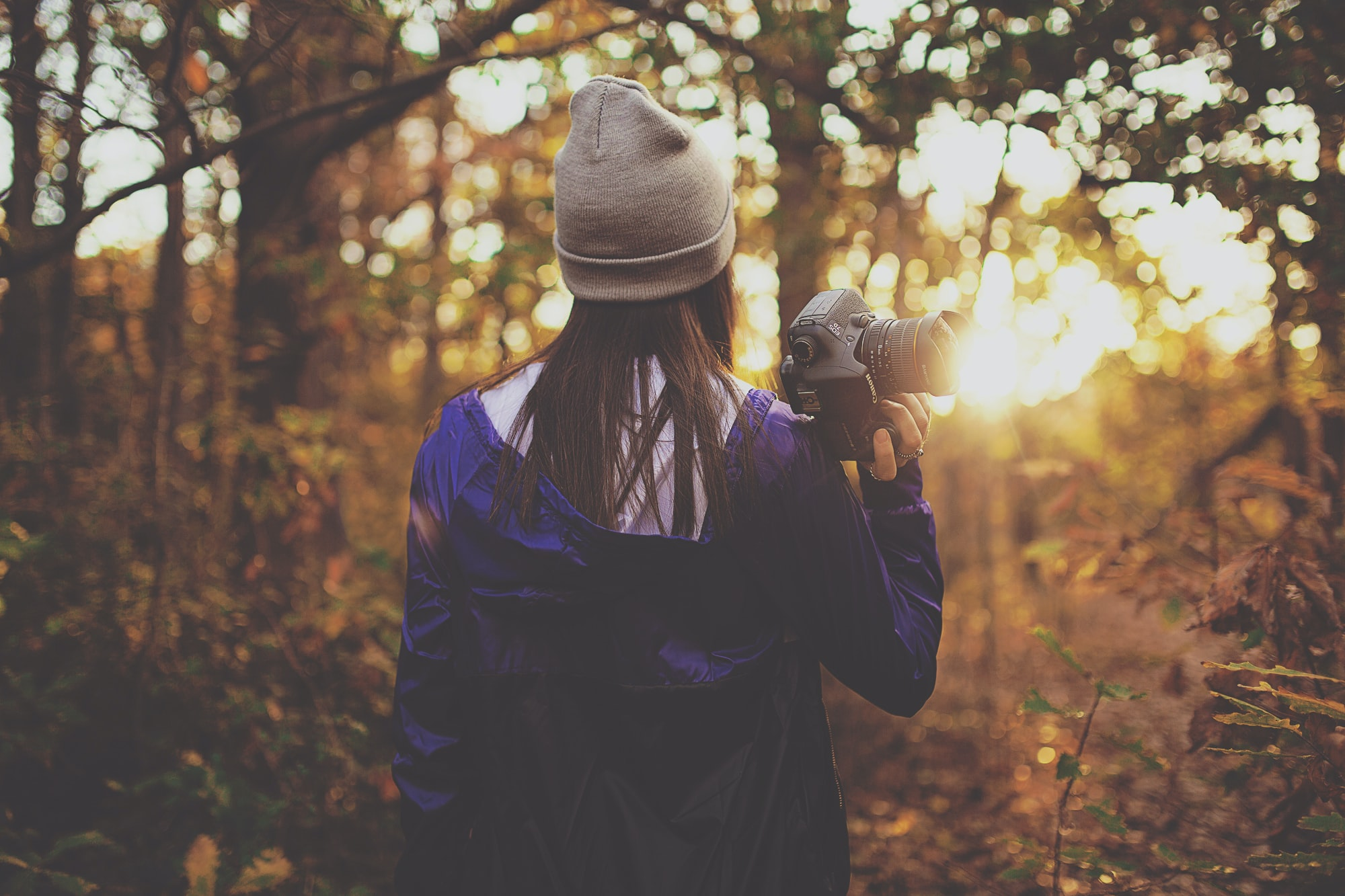 woman in forest holding DSLR camera during golden hour