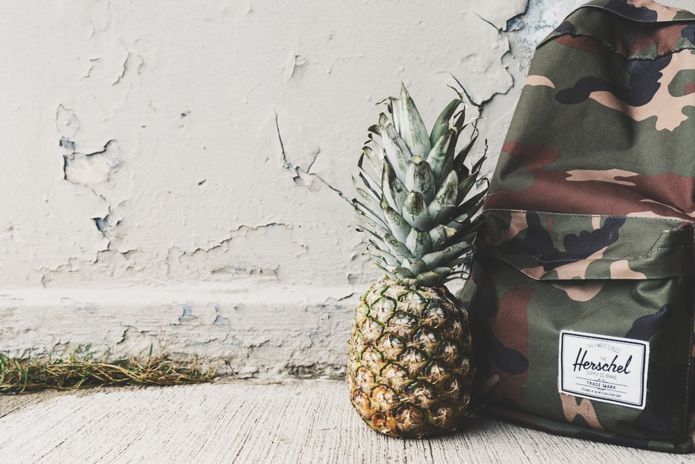 pineapple fruit beside Hershel backpack