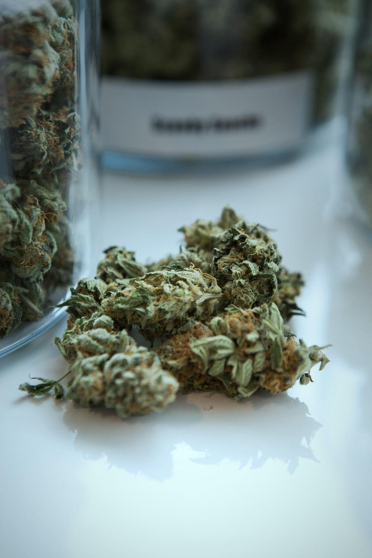 green kush beside jar