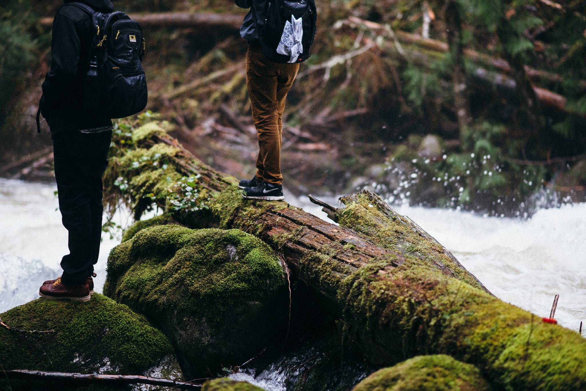 Two people on mossy rocks and logs in a fast-flowing river