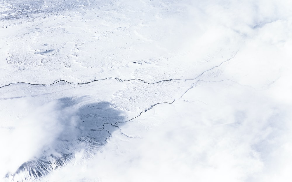 aerial photography of snow field
