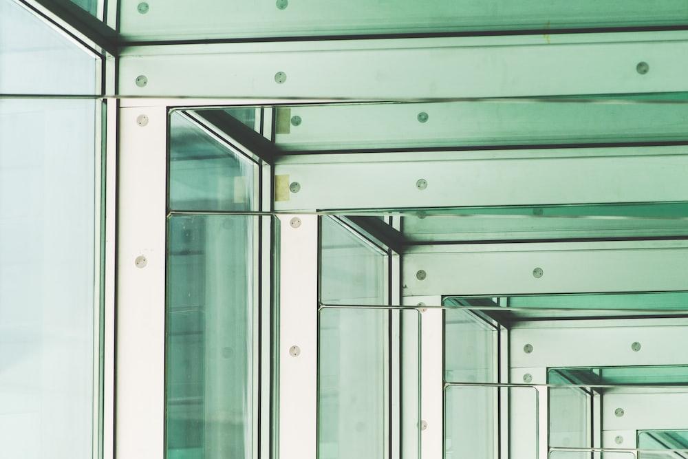 gray framed glass window