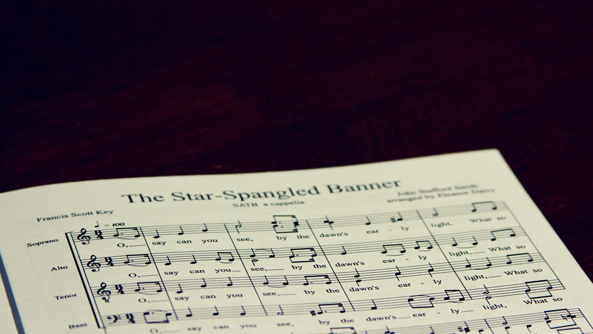 A close-up of a song sheet to The Star-Spangled Banner