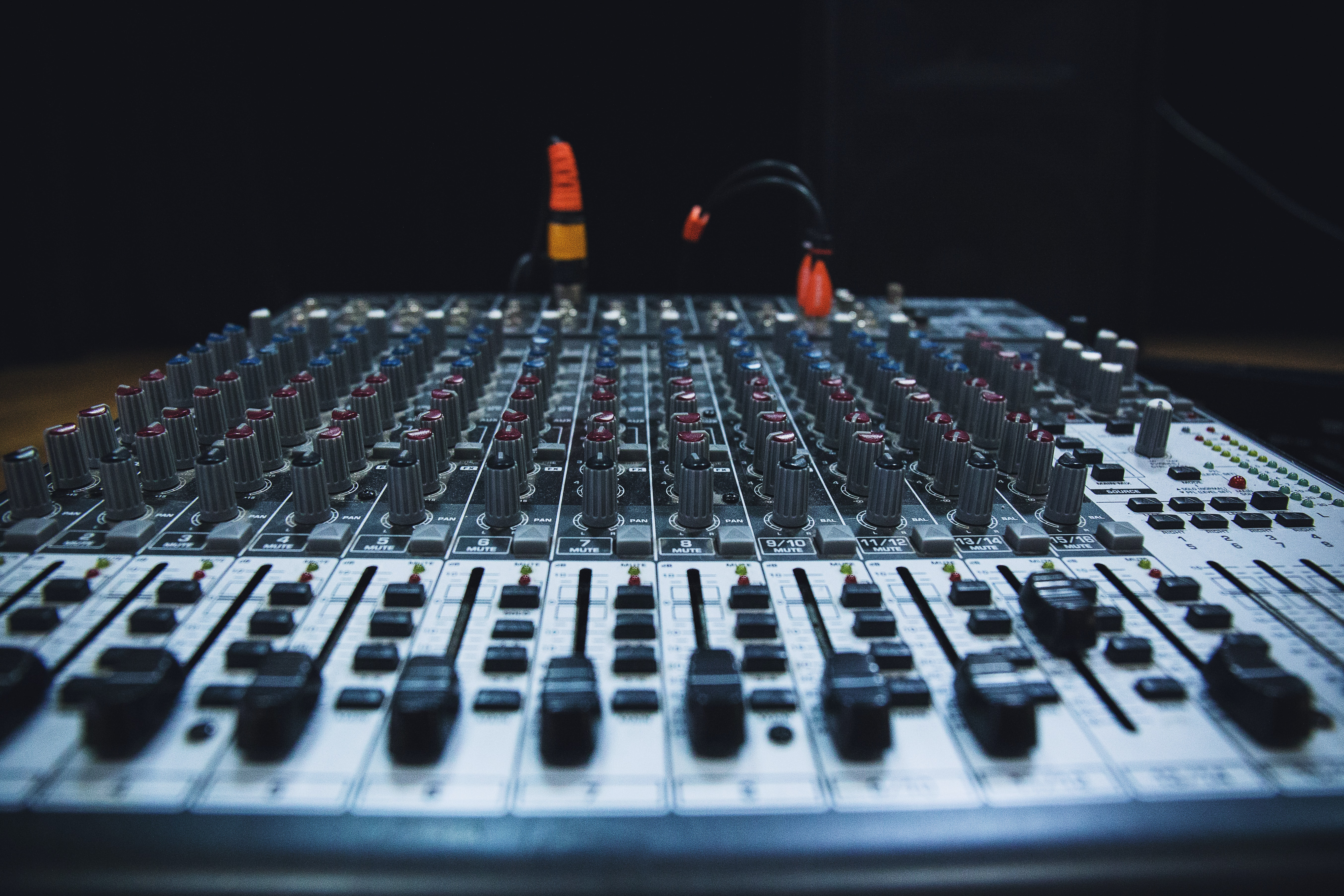 Even rows of dials on a mixing console