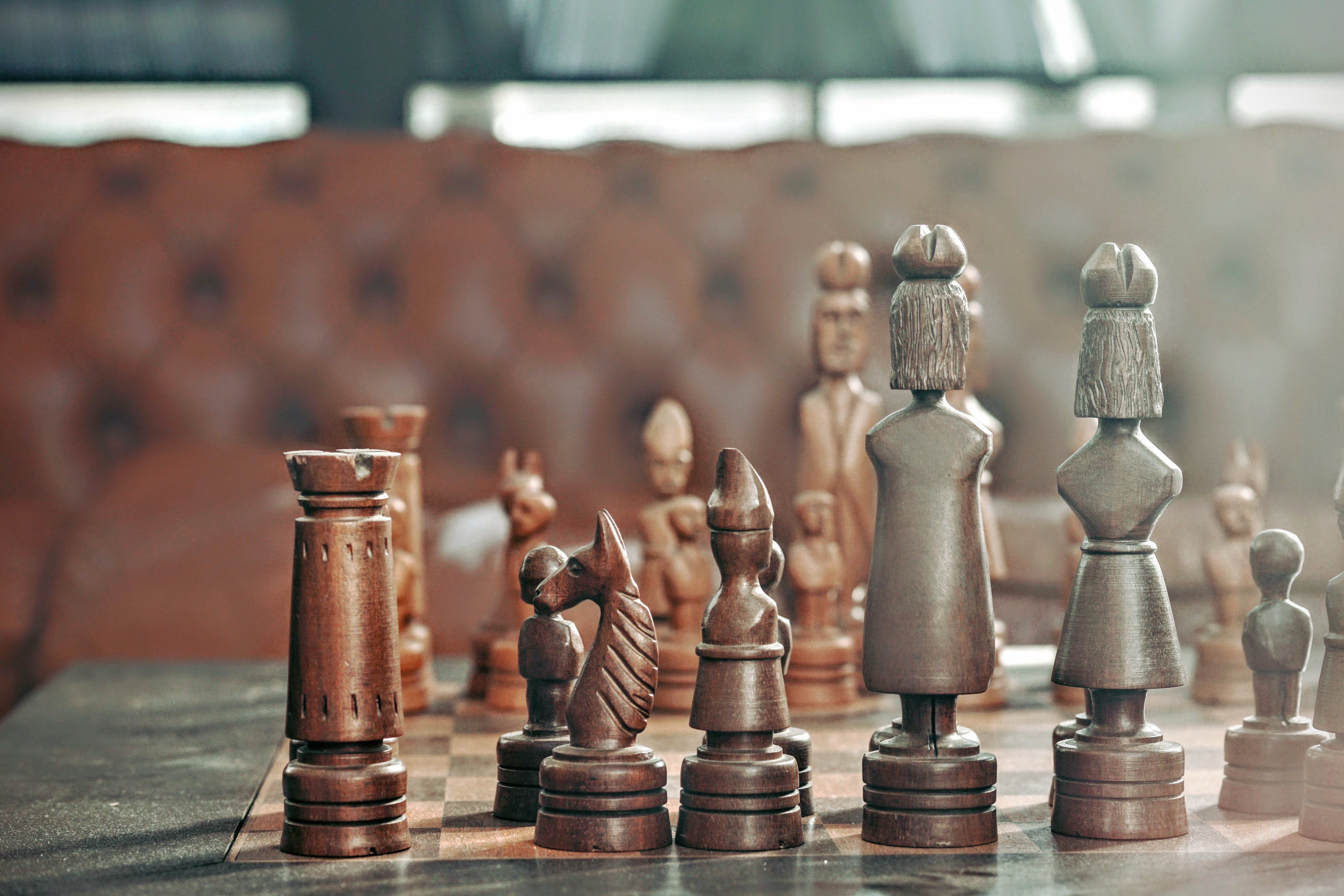 A closeup shot of chess board game pieces at a restaurant in Rotterdam