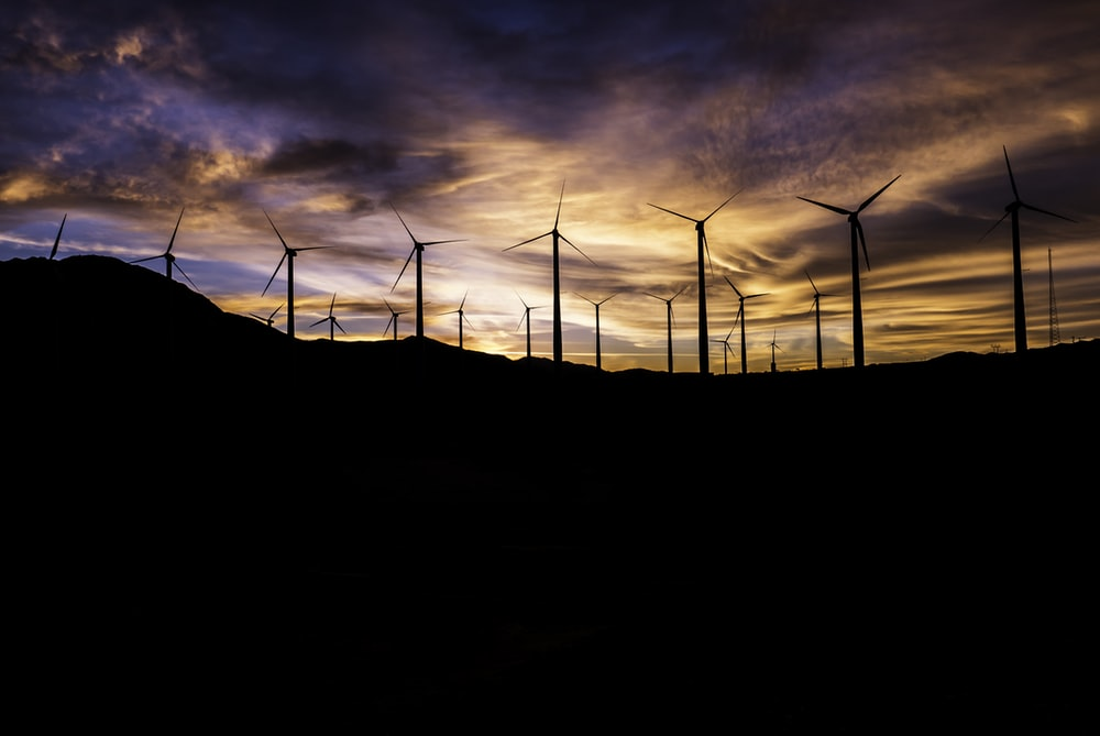 silhouette of windmills during golden hour