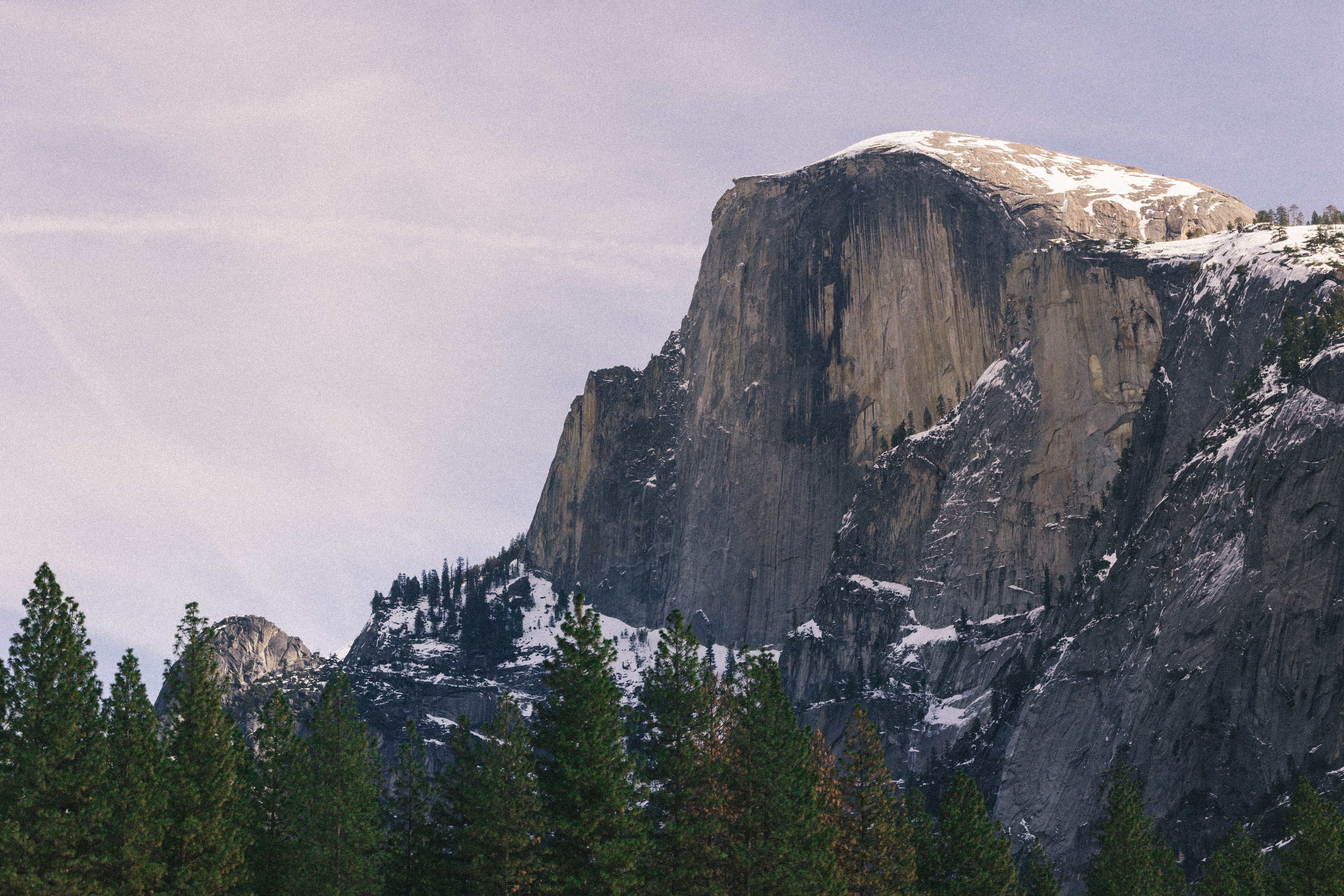 Snow dusted mountain tops next to a forest of trees in Yosemite Valley.
