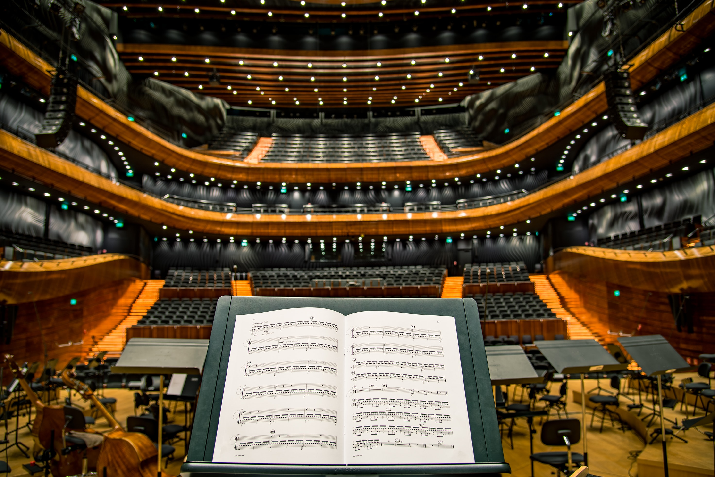 A view from over a conductor's stand on an elegant concert hall in Katowice
