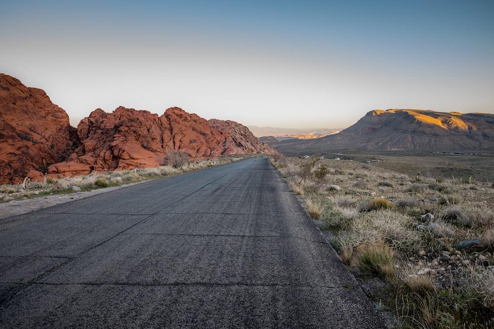 blacktop road at valleys