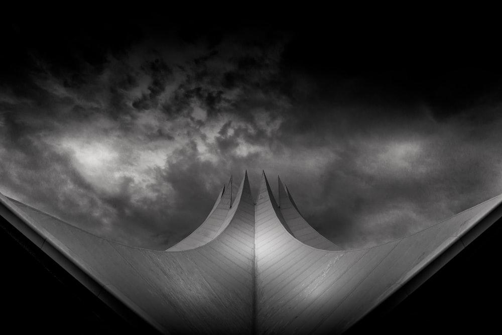 grayscale photo of architectural design