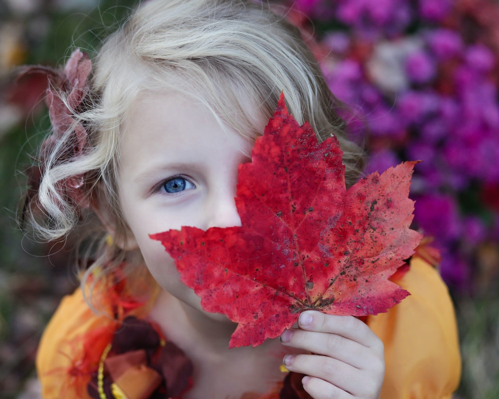 girl holding red maple leaf