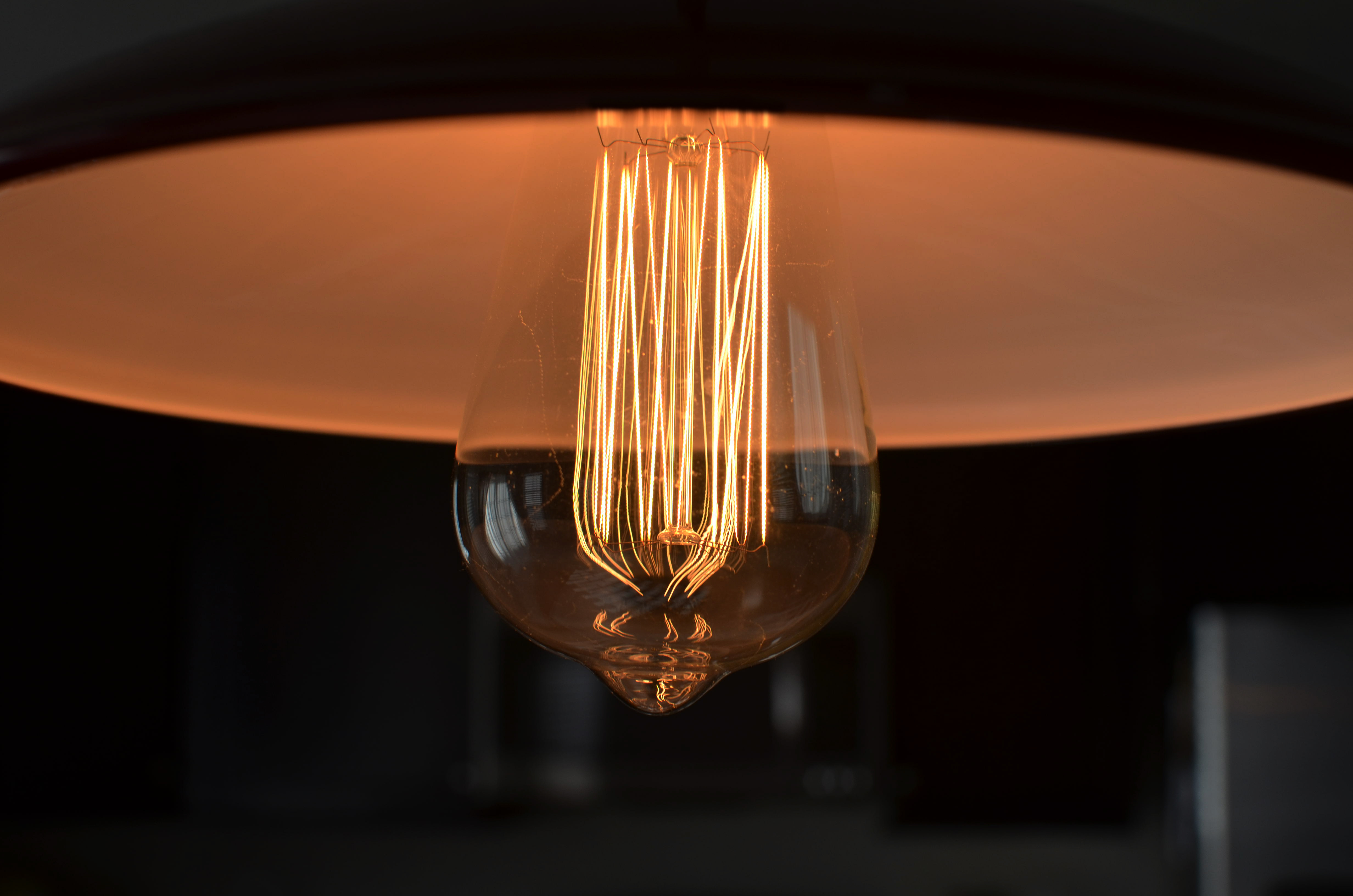 Incandescent bulb with flat shade