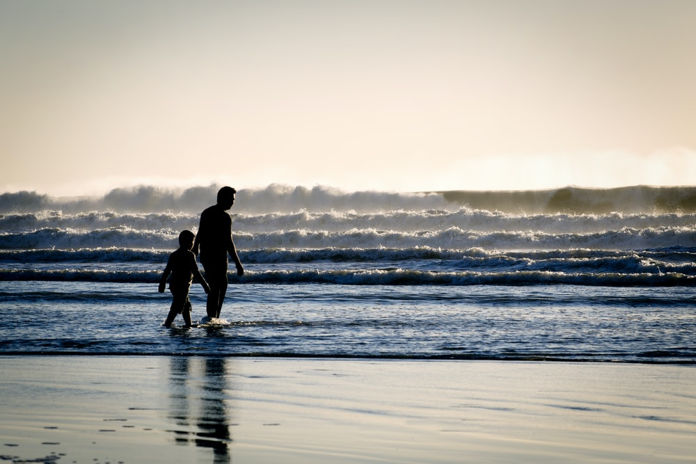 silhouette of a man and a boy on the seashore