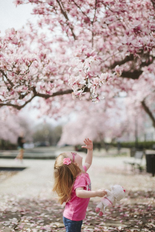 girl under cherry blossom tree