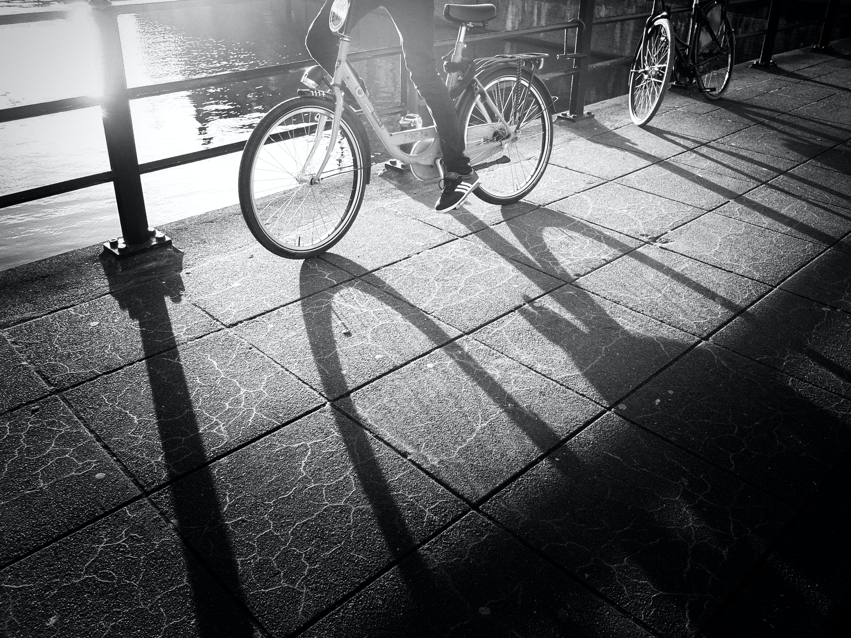 grayscale photo of a person wearing sneakers riding a bicycle