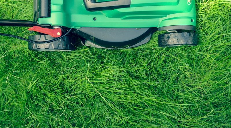 green and black lawnmower on green grass doing chores