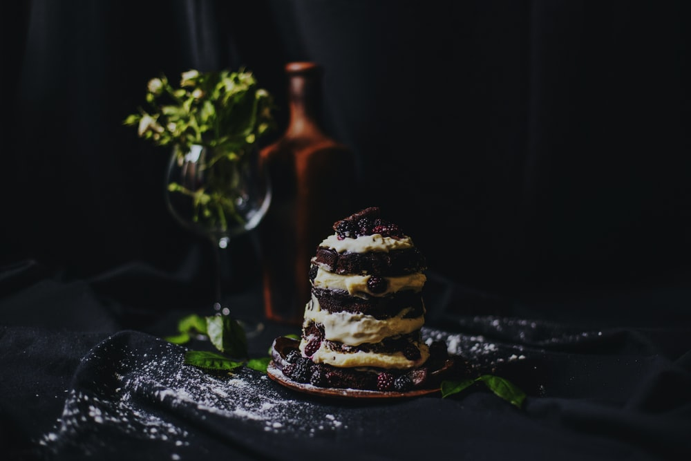 chocolate cake on top black surface